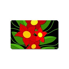 Red flowers Magnet (Name Card)