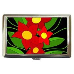 Red flowers Cigarette Money Cases