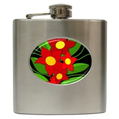Red flowers Hip Flask (6 oz)