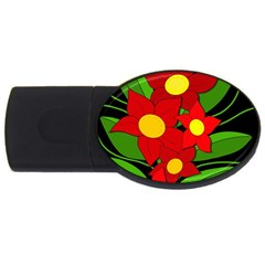 Red flowers USB Flash Drive Oval (2 GB)