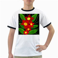 Red flowers Ringer T-Shirts