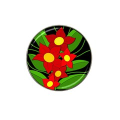 Red flowers Hat Clip Ball Marker (4 pack)