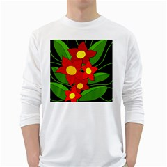 Red flowers White Long Sleeve T-Shirts