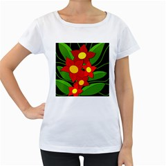 Red flowers Women s Loose-Fit T-Shirt (White)