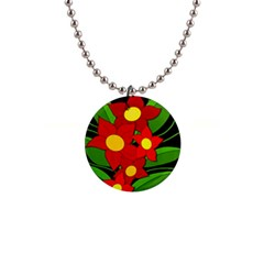Red flowers Button Necklaces