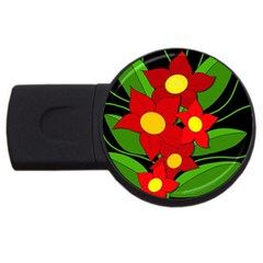 Red flowers USB Flash Drive Round (4 GB)