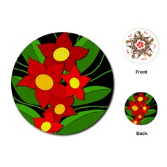 Red flowers Playing Cards (Round)