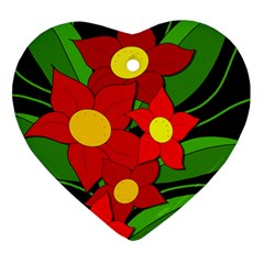 Red flowers Heart Ornament (2 Sides)