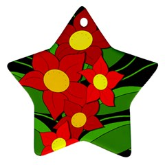 Red flowers Star Ornament (Two Sides)