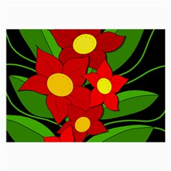 Red flowers Large Glasses Cloth