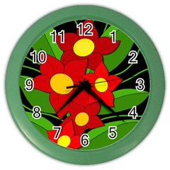 Red flowers Color Wall Clocks