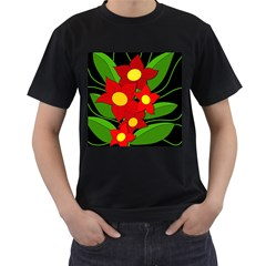 Red flowers Men s T-Shirt (Black)