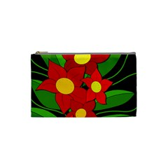 Red flowers Cosmetic Bag (Small)