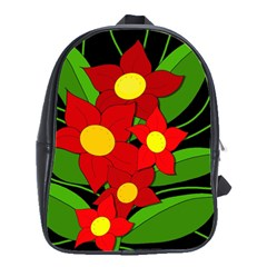 Red flowers School Bags(Large)