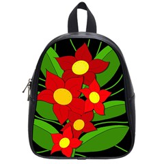 Red flowers School Bags (Small)