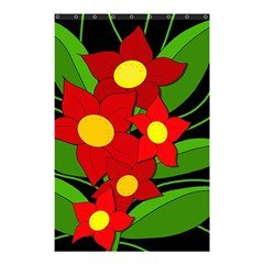 Red flowers Shower Curtain 48  x 72  (Small)