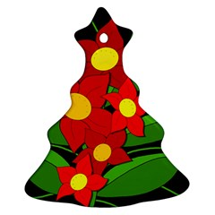 Red flowers Christmas Tree Ornament (2 Sides)