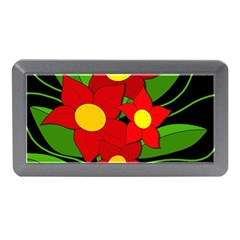 Red flowers Memory Card Reader (Mini)