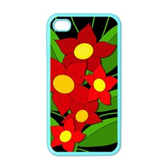 Red flowers Apple iPhone 4 Case (Color)