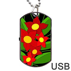 Red flowers Dog Tag USB Flash (Two Sides)