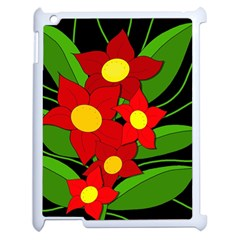Red flowers Apple iPad 2 Case (White)
