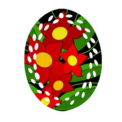 Red flowers Oval Filigree Ornament (2-Side)