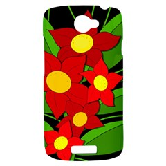 Red flowers HTC One S Hardshell Case