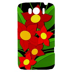 Red flowers HTC Sensation XL Hardshell Case