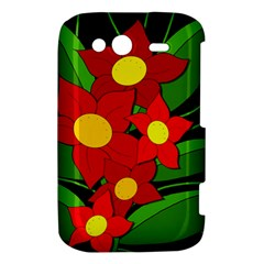 Red flowers HTC Wildfire S A510e Hardshell Case