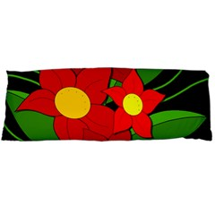 Red flowers Body Pillow Case Dakimakura (Two Sides)