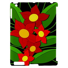 Red flowers Apple iPad 2 Hardshell Case (Compatible with Smart Cover)