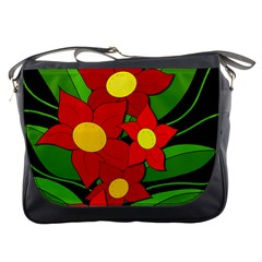 Red flowers Messenger Bags