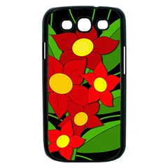 Red flowers Samsung Galaxy S III Case (Black)