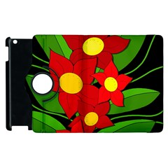 Red flowers Apple iPad 3/4 Flip 360 Case