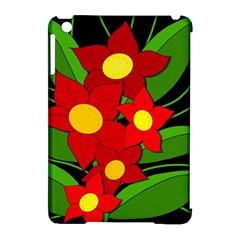 Red flowers Apple iPad Mini Hardshell Case (Compatible with Smart Cover)