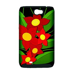 Red flowers Samsung Galaxy Note 2 Hardshell Case (PC+Silicone)