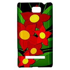 Red flowers HTC 8S Hardshell Case