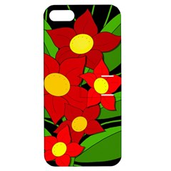 Red flowers Apple iPhone 5 Hardshell Case with Stand