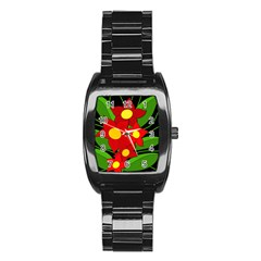 Red flowers Stainless Steel Barrel Watch