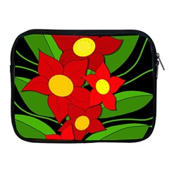 Red flowers Apple iPad 2/3/4 Zipper Cases