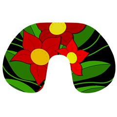 Red flowers Travel Neck Pillows