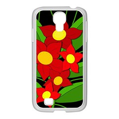 Red flowers Samsung GALAXY S4 I9500/ I9505 Case (White)