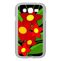Red flowers Samsung Galaxy Grand DUOS I9082 Case (White)