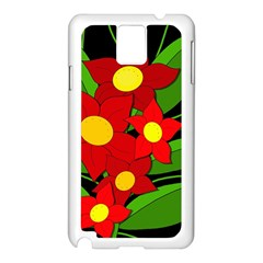 Red flowers Samsung Galaxy Note 3 N9005 Case (White)