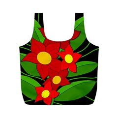 Red flowers Full Print Recycle Bags (M)