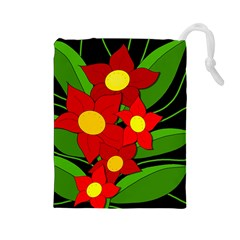 Red flowers Drawstring Pouches (Large)