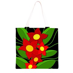 Red flowers Grocery Light Tote Bag