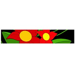 Red flowers Flano Scarf (Large)