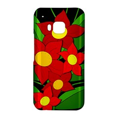 Red flowers HTC One M9 Hardshell Case