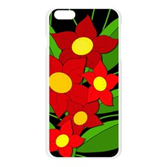 Red flowers Apple Seamless iPhone 6 Plus/6S Plus Case (Transparent)
